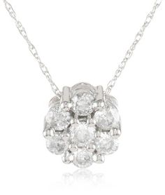 10k White Gold Diamond Cluster Pendant (1/2 cttw, H-I Color, I2-I3 Clarity) for sale