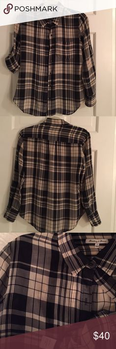 Madewell Silk Plaid Roll-Sleeve Blouse Beautiful plaid print, 100% Silk, front button down closure with roll-sleeve option. **PLEASE LOOK AT ENLARGED PHOTO** on the front there is a small snag, and in various locations the silk fabric is showing its delicacy (not broken by any means). This blouse has only been worn to work a handful of times at most. Madewell Tops Button Down Shirts
