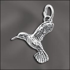 WJ Wholesale Jewelry Supply SS/CR3/HGB | STERLING SILVER CHARM - FLYING HUMMINGBIRD