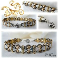 Bracelet uses the new Kheops Par Puca two-hole triangle beads