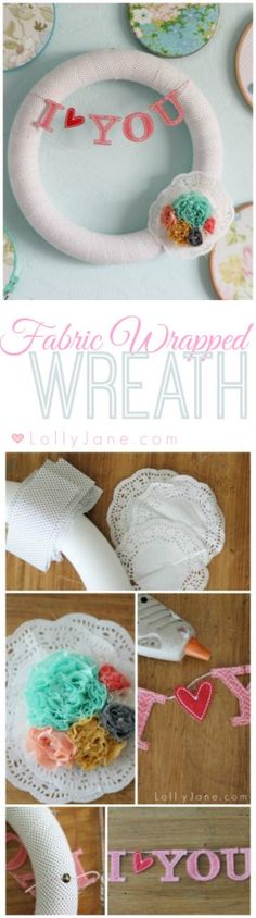 Fabric Wrapped Valentine's Wreath |easy tutorial on lollyjane.com