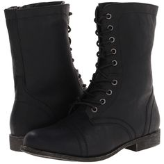 Madden Girl Gomby Women's Zip Boots, Black (64 CAD) ❤ liked on Polyvore featuring shoes, boots, black, lace up boots, black boots, black shoes, low heel boots and military lace up boots