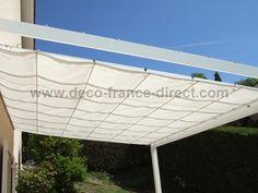 Toile pergolas and c ble on pinterest - Toile tendu terrasse ...