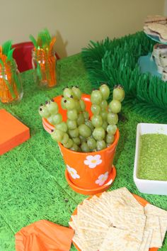 Caterpillar grape kebobs for bug-themed birthday party