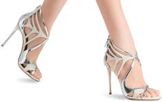 Casadei Glitter and Mirrored-Leather Evening Sandals