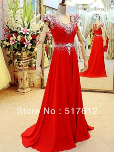 Luxury Crystal Cap Sleeves Empire Waist Red Yellow Chiffon Long Evening Dress Modest Prom Gowns 2013 New Arrival US $148.00