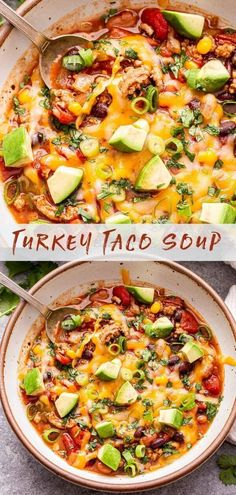 Turkey Taco Soup is a staple recipe for the colder months of the year. It's a cross between soup and chili and packed full of taco flavor! Top it with your favorite taco toppings for a healthy and hearty dinner. #soup #tacosoup #turkeytacos #healthydinner #groundturkey #glutenfree #easyrecipes #souprecipes