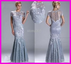 Wholesale Mother Dresses - Buy 2013 Luxury Silver Lace Short Sleeve Mermaid Mother of Bride Evening Dresses Gowns M1419, $116.99   DHgate