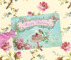 Gift Tags Happy Birthday Shabby Chic Style by luvcrystals on Etsy