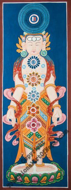 Seven Chakras Thangka | traditionalartofnepal.com #chakras #painting