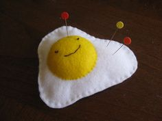 Over(ly)-Easy egg pincushion  by Henny at  Speckless