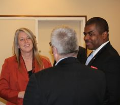 ICIT Fellow Shelly Frazier (Covenant Security Solutions) and Darryl Peek (Security Strategist, NPPD, DHS) engage in some post meeting networking.