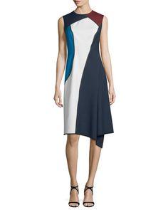 Sleeveless+Jewel-Neck+Colorblock+Dress,+Midnight+Blue+by+Escada+at+Neiman+Marcus.