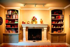 fireplace mantel bookshelves