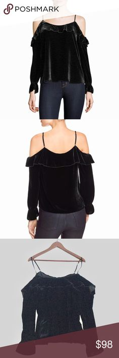 fe9750f045b6b JUST IN Joie Alyse Velvet Cold Shoulder Top Luxe black velvet cold shoulder  blouse. Long