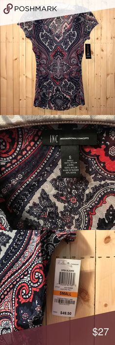 """NWT International Concepts Paisley Blouse Small NWT INC """"couture paisley"""" pattern. Size small. Perfect for summer! INC International Concepts Tops Blouses"""