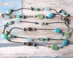 Lovely long vintage bead necklace with light by Lilyslovelyshop