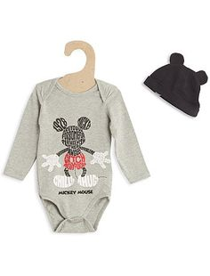 Body + bonnet 'Mickey Mouse'                                                                                                                                              gris Bébé garçon