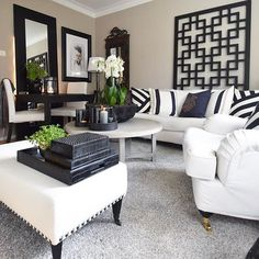 Definitely something so chic about Black & White. and we LOVE this design ( White & black living room inspiration. as - Architecture and Home Decor - Bedroom - Bathroom - Kitchen And Living Room Interior Design Decorating Ideas - Living Room Interior, Home Living Room, Living Room Designs, Living Room Decor, Home Design Decor, House Design, Design Ideas, Home Theaters, Transitional Home Decor