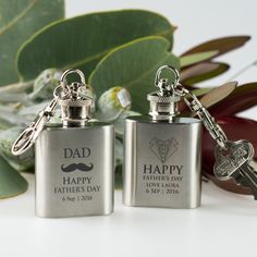 Father's Day Engraved Real Mini Hip Flask Keyring <3