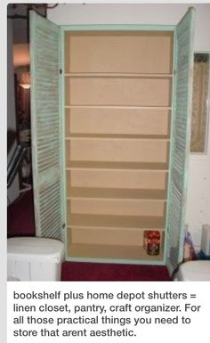DIY Pantry/storage Cabinet Using A Book Shelf And ShuttersPlease, If your going to save then like if your out of likes then hit the share button Dont forget to view my other tips and follow. Thanks