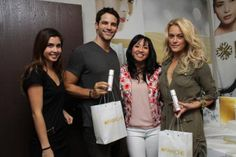 Brant Daugherty and dance partner Peta with the Fairiche team receiving their goody bags full of product! #DWTS