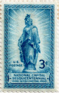 United States postage stamp, 3 cents.  National Capital Sesquicentennial, 1800 - 1950, Washington.   Issued 20 Apr 1950. Scott catalog 989.