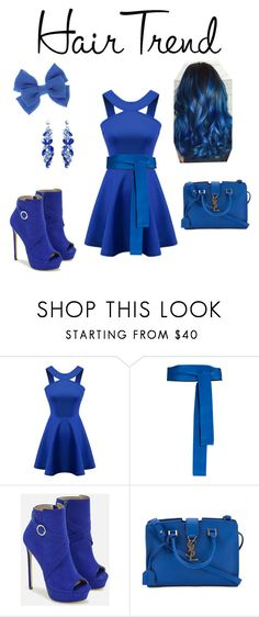 """""""Bluedo"""" by somemack ❤ liked on Polyvore featuring beauty, Diane Von Furstenberg, JustFab, Yves Saint Laurent, hairtrend and rainbowhair"""