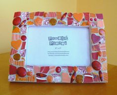 Sunset Color Reds Broken China  Mosaic Picture Frame Valentine's Day via Etsy