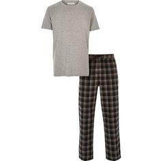 River Island Grey t-shirt checked bottoms pajama set ($50) ❤ liked on Polyvore featuring men's fashion, men's clothing, men's sleepwear and loungewear
