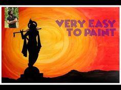 How to Draw Krishna Painting for Beginners n Kids Step by Step Oil Pastel Paintings, Simple Acrylic Paintings, Indian Art Paintings, Acrylic Painting Tutorials, Easy Paintings, Watercolor Paintings, Krishna Drawing, Krishna Painting, Krishna Art