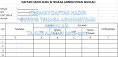 Contoh Format Daftar Hadir Guru dan Tenaga Administrasi Sekolah Tahun 2016 Manual dengan Microsoft Excel