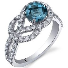 Gracefully Exquisite 1.00 Carats London Blue Topaz Ring in Sterling Silver Rhodium