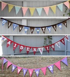 More banner ideas. Fabric Decor, Fabric Banners, D Day, 4th Of July Wreath, Custom Fabric, Advent Calendar, Banner Ideas, Holiday Decor, Birthday Ideas