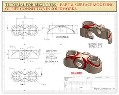 Surface Modeling, 3d Modeling, Solidworks Tutorial, Isometric Drawing, Pipe Connectors, 3d Sketch, Automotive Engineering, Cad Cam, Technical Drawings
