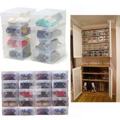 10X Transparent Clear Plastic Shoe Boxes - Sassy Posh