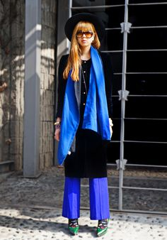 Blue and Vintage velvet coat  More information – http://www.eggonakillheel.com/