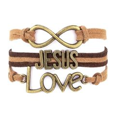 "This multilayered one-piece bracelet is beautifully unique! With ""Jesus"" ""Love"" and the infinity symbol all attached to separate bands, not only does this piece spark conversations but also displays y"