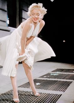 Marilyn Monroe photographed on the set of The Seven Year Itch (1955).
