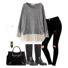 Grey Long Sleeve Contrast Lace Loose T-Shirt