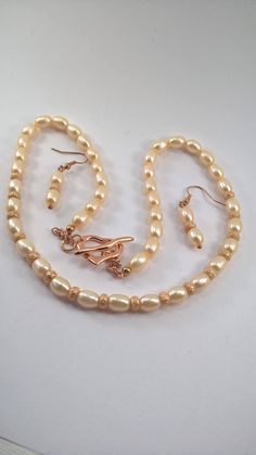 Pearl necklace and earrings, rose gold pearl necklace, pearl necklace, pearl wedding set, bridal jewelry, wedding jewellery, pearl necklace.