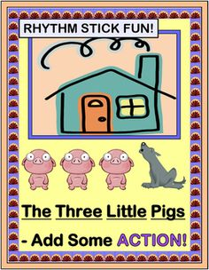 "Story Time should have RHYTHM STICKS - and 'MOVES'! This favorite Folk Tale has never been quite this . . . INTERACTIVE! Includes a complete STORY TEXT for this 'Pig Tale' that makes fun references to your kids' school day. Eight Character Templates, 'PIG RHYMES', and Song Directions are included-- no music skills needed! (11 pages) Do ""The Happy Pig Dance"" with Joyful Noises Express TpT! $"