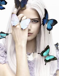 Anja in Magpie Darling with Anja Leuenberger - - Fashion Editorial Butterfly Fashion, Butterfly Face, Butterfly Kisses, Butterflies, Studio Photography Poses, Creative Photography, Portrait Photography, Artistic Photography, Headshot Poses