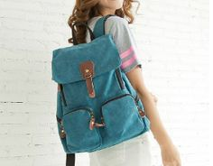 "11.8 ""x 15,7"" portátil bolsa/azul lona-mochila de cuero / tela mochila/Handmade/bolso de escuela"