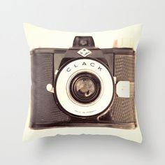 Pillow Cover Brown Pillow Camera Pillow Vintage Photographer Pillow Decoration 16 x 16