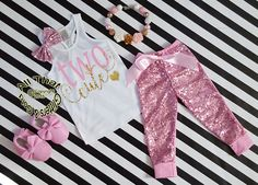 Pink and Gold Two Cute Sequin Birthday Pants Outfit http://allthatglittersandgold.com