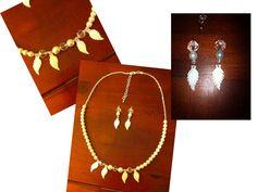 parure collier et boucles d'oreilles feuilles en nacre / finery neclace and earings, mother of pearl leaf