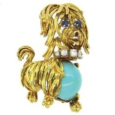 1960s Turquoise Sapphire Ruby and Diamond 18k Gold Dog Brooch Pin