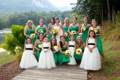 Cheap 2014 Short Party Gowns Strapless One Shoulder Tea Length Hand Made Flower Ruffle Sash Bow Knot Draped Satin Fall Bridesmaid Dress Lime Green Bridesmaid Dresses, Green Bridesmaids, Kelly Green Weddings, Wedding Bridesmaids, Wedding Dresses, Wedding Inspiration, Wedding Ideas, Wedding Stuff, Dream Wedding