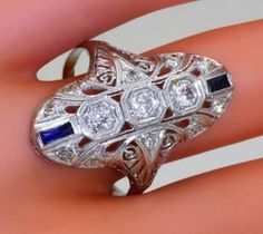 art deco jewelry with diamonds and sapphires - Google Search